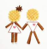 Funny people man and woman made of waffles Stock Photo