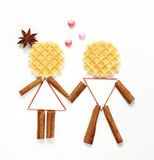 Funny people man and woman made of waffles Royalty Free Stock Photos