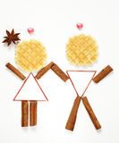Funny people man and woman made of waffles Stock Photography