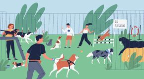 Funny people playing with dogs at playground, yard or park. Happy men and women training domestic animals outdoors. Owners walking with their playful pets stock illustration