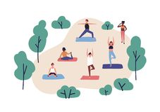 Funny people practicing yoga in park. Group of cute men and women performing gymnastic exercise outdoor. Aerobics. Training, fitness or sports activity. Flat vector illustration