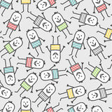 Funny people seamless pattern. Vector hand drawn cartoon characters Stock Images