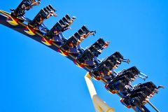 Funny people upside down wearing their shoes in amazing Montu Rollercoaster at Bush Gardens Tampa Bay royalty free stock photography