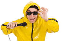 Funny performer with mic isolated Royalty Free Stock Photos