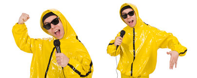 The funny performer with mic isolated on the white Royalty Free Stock Images