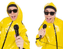 The funny performer with mic isolated on the white Royalty Free Stock Photo