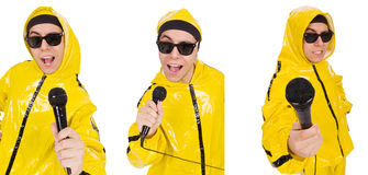 The funny performer with mic isolated on the white Stock Photo
