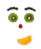 Funny person from fruit. Emotions of the person from cut fruit Stock Photos