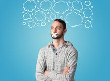 Funny person with taped mouth Royalty Free Stock Photo