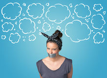 Funny person with taped mouth Stock Photography