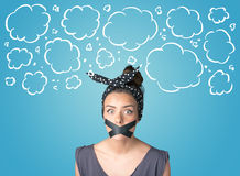 Funny person with taped mouth Royalty Free Stock Images