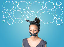 Funny person with taped mouth Stock Photos