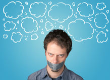 Funny person with taped mouth Royalty Free Stock Photos