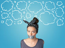 Funny person with taped mouth Stock Images