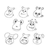 Funny pet faces set. Liner  illustration Stock Photography