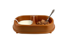 Funny Pet's bowl with meal Royalty Free Stock Photography