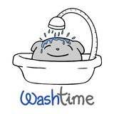 Funny pet and wash time message stock illustration