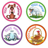 Funny pets. Set of four funny pets labels for natural goods vector illustration
