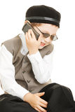 Funny phone chat. Little cute boy in sunglasses have funny phone chat Royalty Free Stock Photography