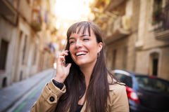 Funny phone conversation Royalty Free Stock Images