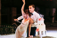 Funny photo of the couple on their wedding Stock Image
