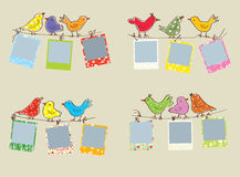 Funny photo frames with birds and patterns Royalty Free Stock Photos