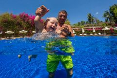 Child learn to swim. royalty free stock photos