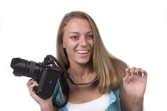 Funny Photo Op!. Teen with camera series Royalty Free Stock Photos