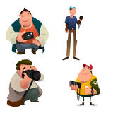 Funny Photographer Characters Holding a Camera Royalty Free Stock Photography