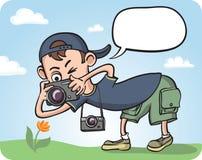Funny Photographer Making Macro Photography Royalty Free Stock Photography