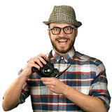 Funny photographer with retro camera isolated on white Royalty Free Stock Image