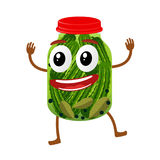 Funny pickles glass jar character. Cartoon vector illustration isolated on white background. Humanized pickles with smiling faces, arms and legs. Home canning Stock Image
