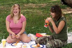 Funny Picnic. Two girls enjoying a funny moment while eating a picnic lunch Royalty Free Stock Photography