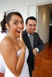Funny picture of Bride and Groom Royalty Free Stock Images