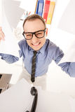 Funny picture of businessman in office Stock Image