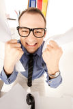 Funny picture of businessman in office Stock Photography