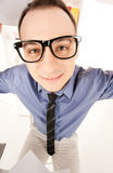 Funny picture of businessman in office Royalty Free Stock Photos
