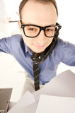 Funny picture of businessman in office Stock Images