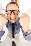 Funny picture of businessman in office Stock Photo