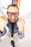 Funny picture of businessman in office Royalty Free Stock Image