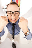 Funny picture of businessman in office Royalty Free Stock Photo
