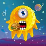 Funny picture of a fat funny alien with a hamburger. Vector image of a round yellow funny alien eating a big Burger on a space background Stock Photo