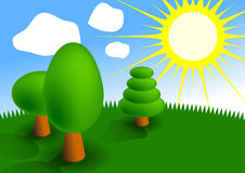 Funny picture of forest. A simple stylized picture of three trees in a forest clearing and the sun Stock Image
