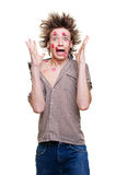Funny picture of guy. Funny picture of kissed guy. isolated white Royalty Free Stock Photo
