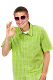 Funny picture, the guy with the pink sunglasses Royalty Free Stock Photography