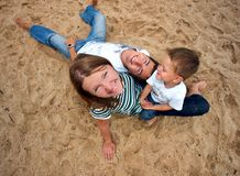 Funny picture of happy family Royalty Free Stock Image