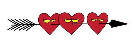 Funny picture. Hearts skewered on an arrow of Cupid. Royalty Free Stock Images