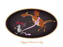 Funny picture with knight and dragon. Valentine Day greeting card. Stock Images