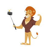 Funny picture lion photographer mamal person take selfie stick in his hand and cute animal taking a selfie together  Royalty Free Stock Photo