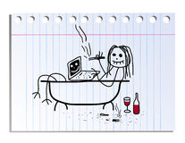 Funny picture on the notebook sheet in line. Funny  picture on the notebook sheet in line Stock Photo